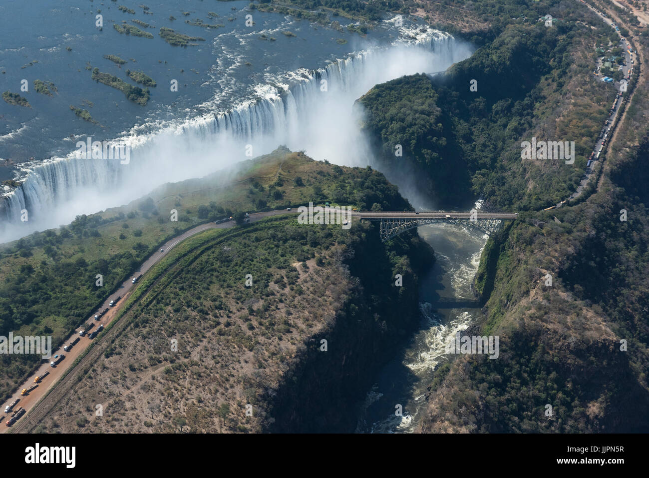 Southern Africa, at the border between Zambia and Zimbabwe. Livingston, Zambia and Victoria Falls, Zimbabwe. Aerial - Stock Image