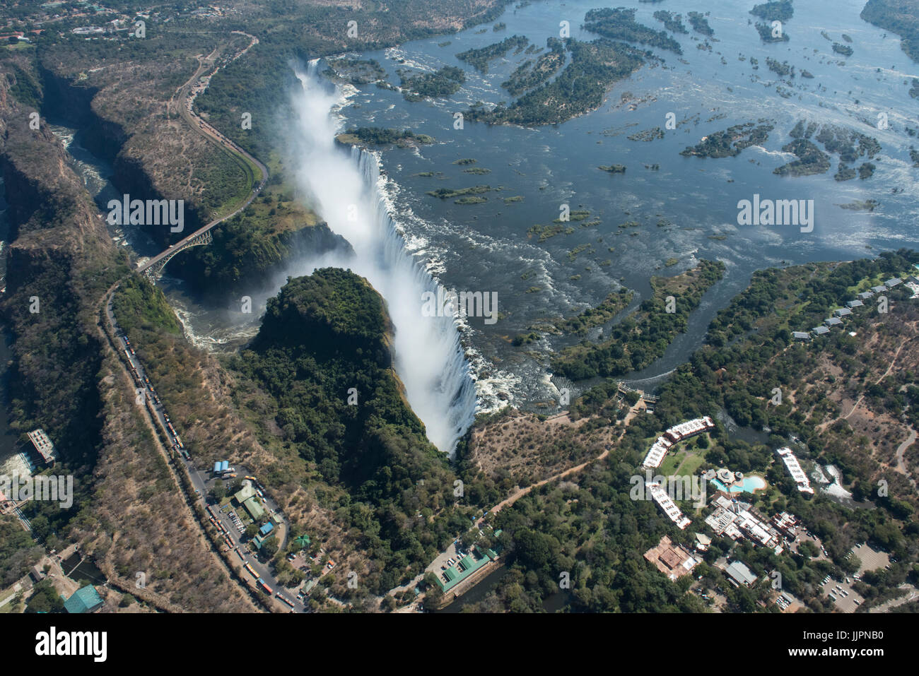 Southern Africa, at the border between Zambia and Zimbabwe. Livingston, Zambia and Victoria Falls, Zimbabwe. Aerial - Stock Image