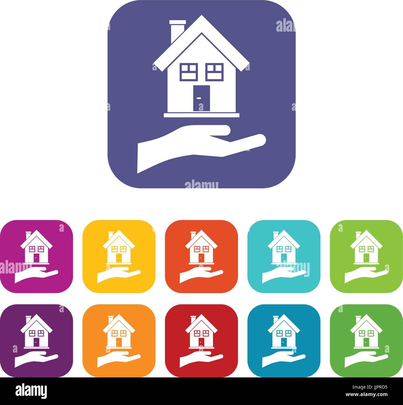 Hand holding house icons set - Stock Image