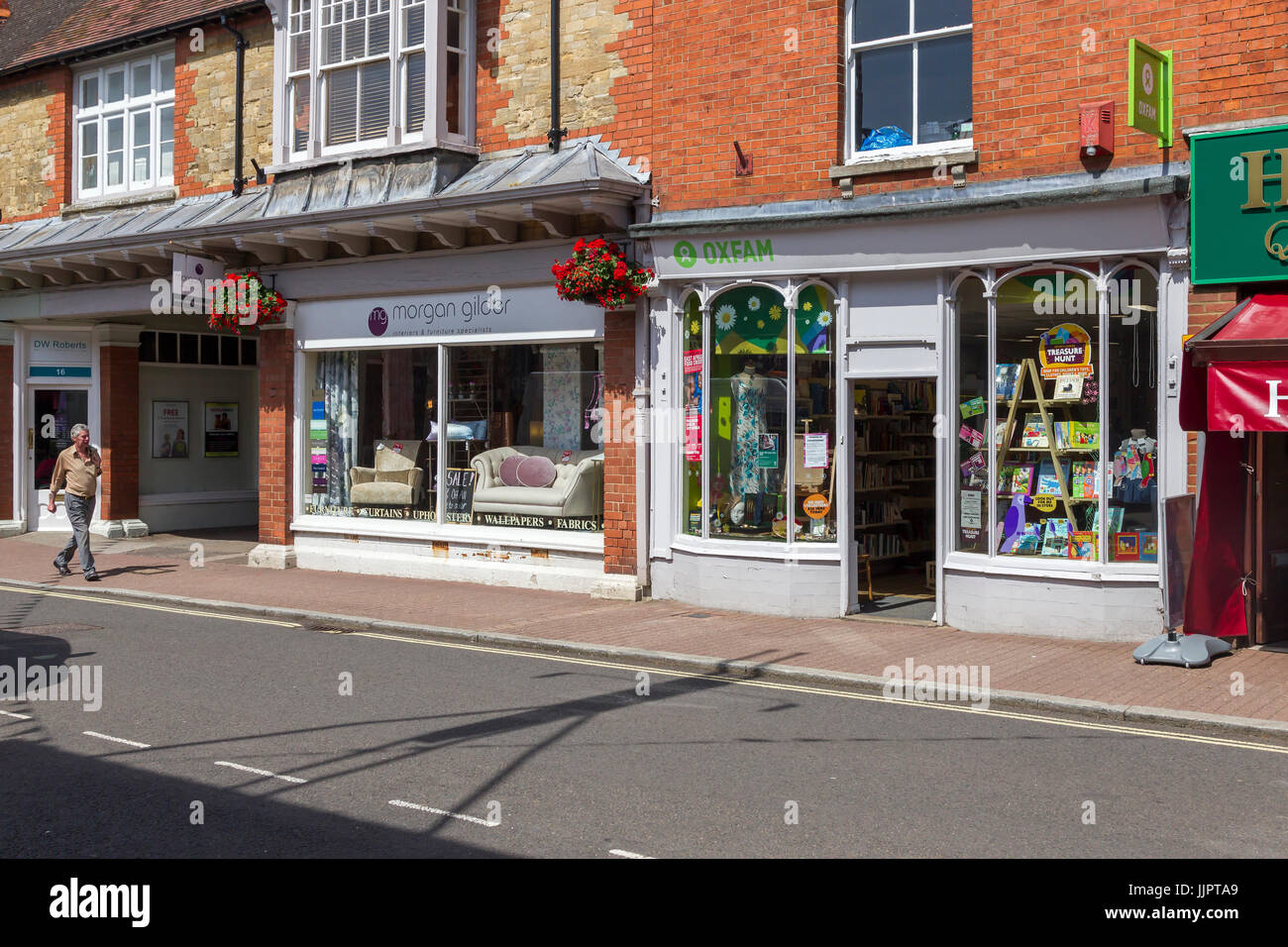 Shopfronts on the high street in Stony Stratford, North Buckinghamshire, uk - Stock Image
