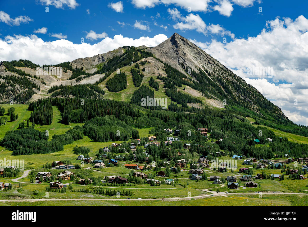 Village of Mount Crested Butte and Mount Crested Butte (12,162 ft.), near Crested Butte, Colorado USA - Stock Image