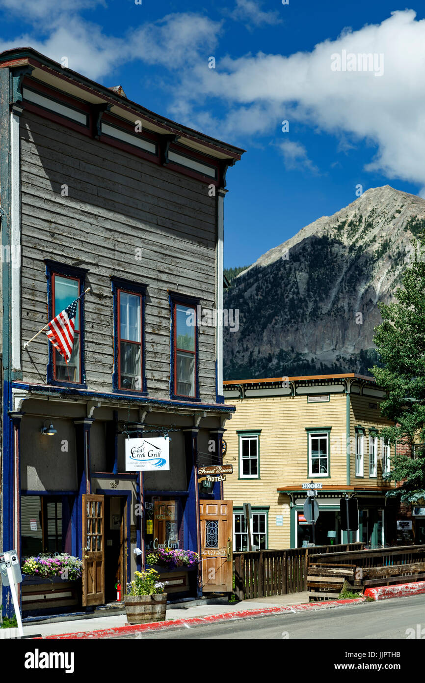 Historic Downtown and Mount Crested Butte (12,162 ft.), Crested Butte, Colorado USA - Stock Image