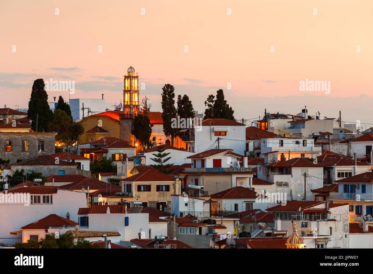 Evening view of Skiathos town in Sporades, Greece. - Stock Image