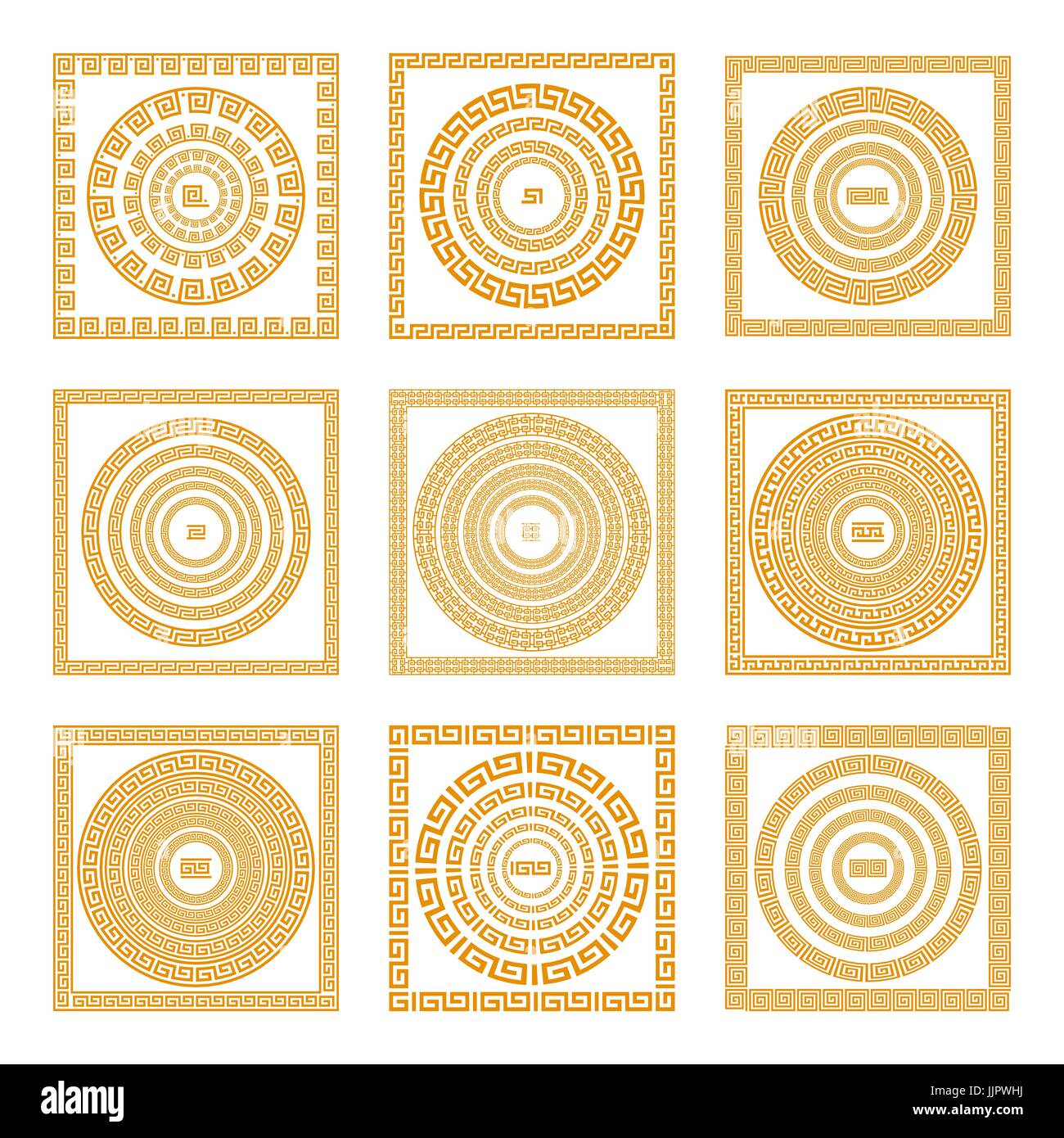 25dfcfe906cf8 Set collections of old greek ornaments. Orange old style borders on the  dark background. Ethnic patterns. Vector illustrations. art