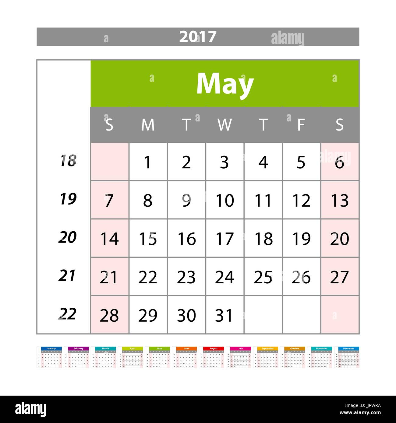 may 2017 wall monthly calendar for 2017 year vector design print