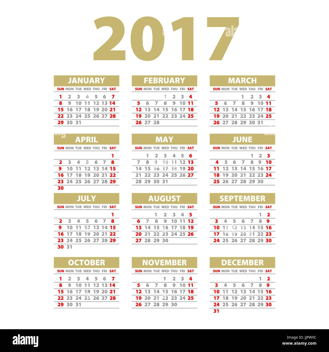 2017 Calendar Design In Yellow Beige Color Wall Quarterly