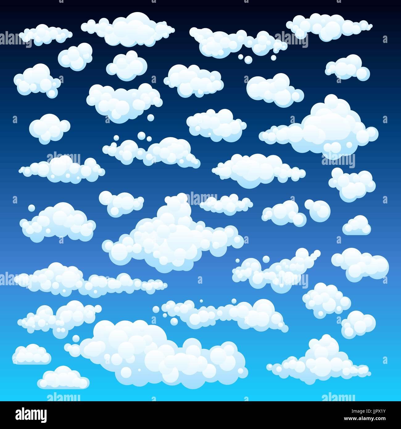 Cartoon Clouds Set On Blue Sky Background Set Of Funny Cartoon