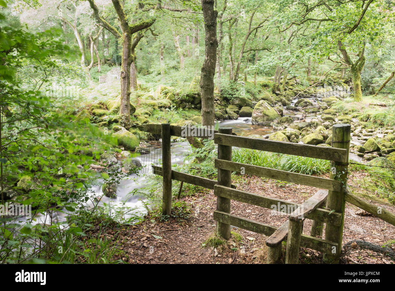 Stile by the river - Stock Image