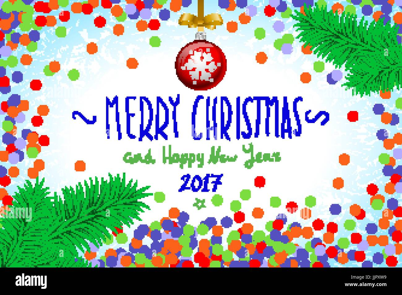 Merry Christmas And Happy New Year 2016 Greeting Card Vector Stock