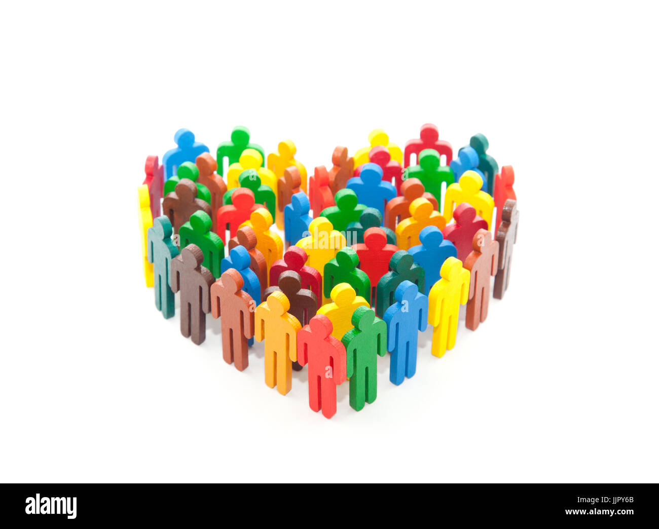 Group of colorful painted people figures in the shape of a heart - Stock Image