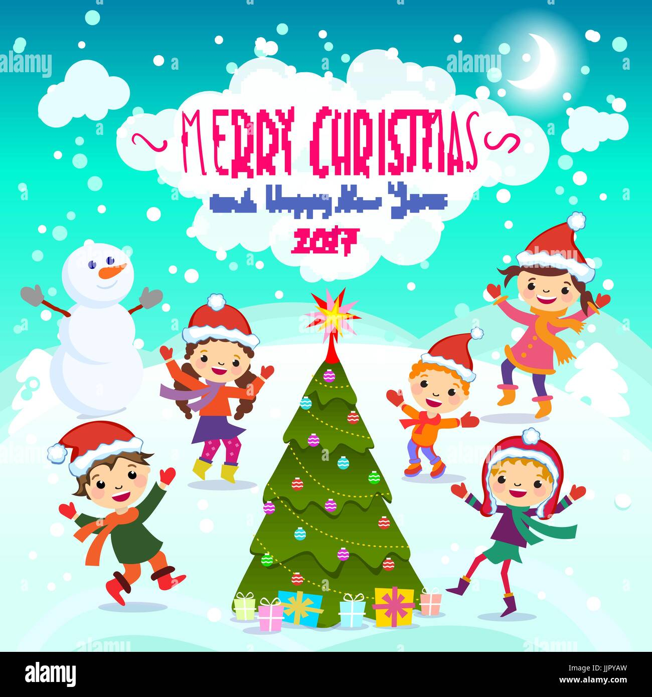 Stylish and bright merry christmas card in vector funny elves stock stylish and bright merry christmas card in vector funny elves dancing under the snowfall cute holiday background with boys and girls m4hsunfo