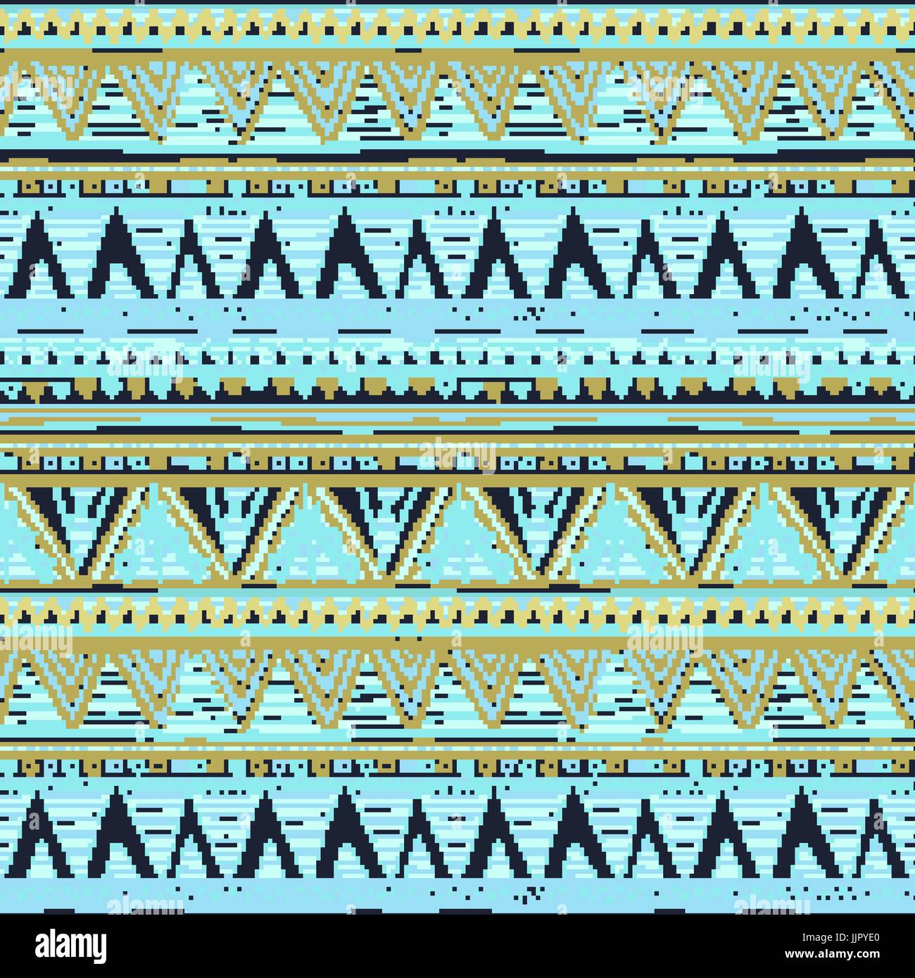 Ethnic Boho Seamless Pattern Tribal Art Aztec Print Border Ornament Background Texture Wrapping Wallpaper Vector Blue Dark
