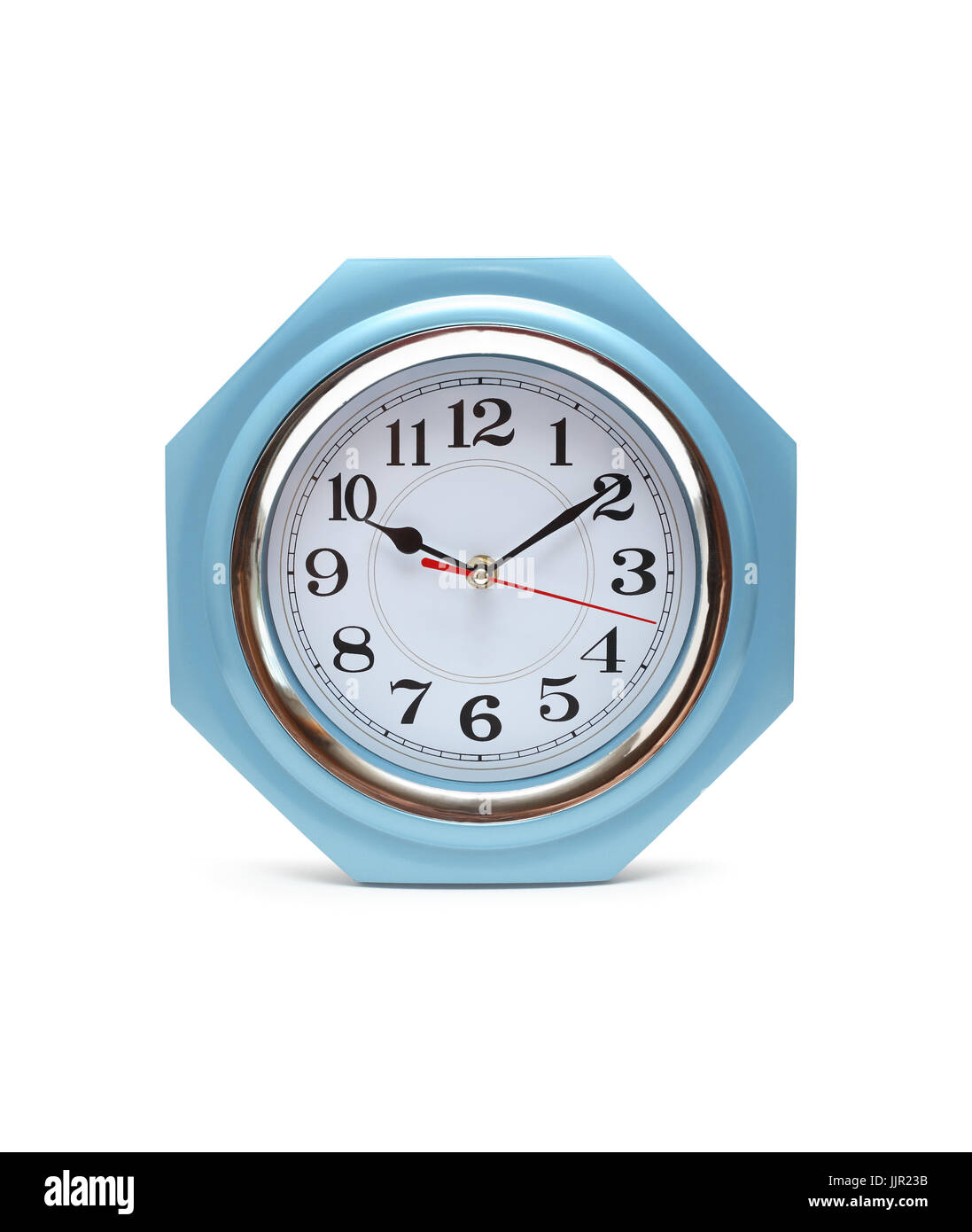 Closeup of nice modern clock isolated on white background with clipping path - Stock Image