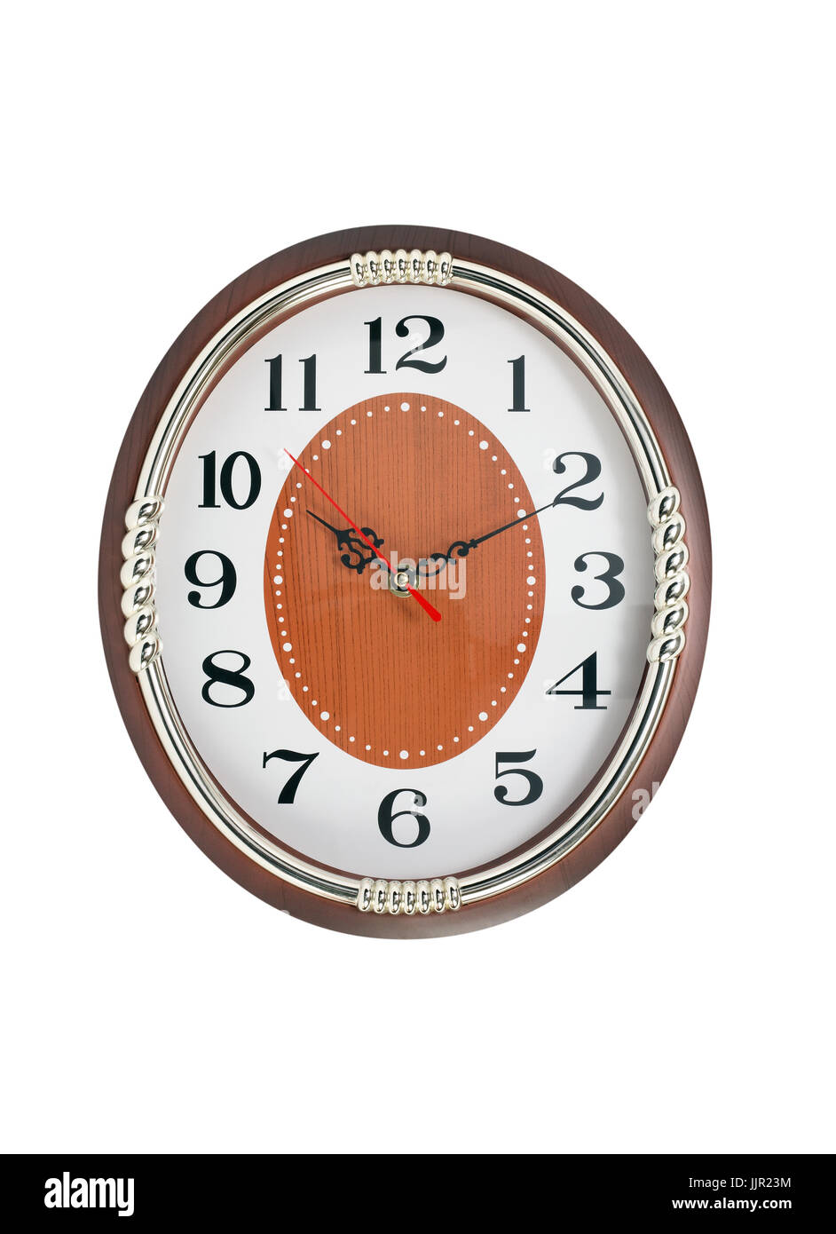 Nice vintage wall clock isolated on white with clipping path - Stock Image