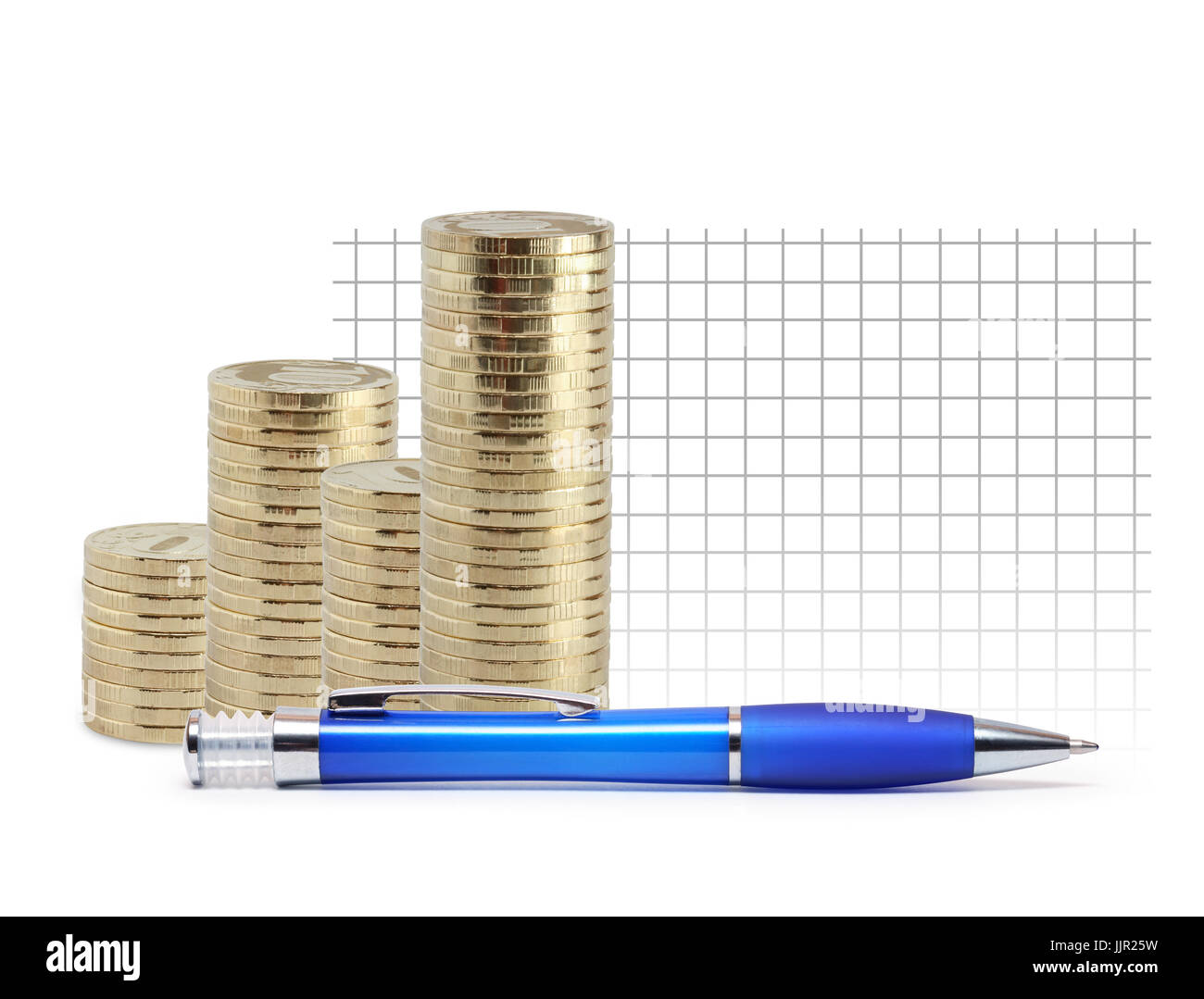 Amazing Modern Plastic Blue Ballpoint Pen Near Coins Columns And Blank Stock Wiring Digital Resources Minagakbiperorg