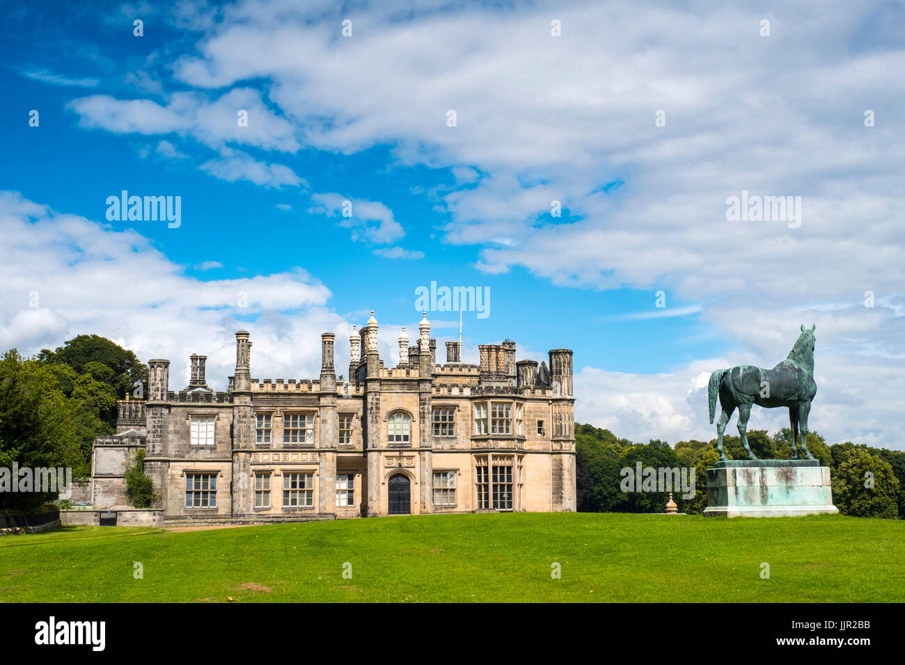 Exterior view of Dalmeny House stately home outside Edinburgh in Scotland, United Kingdom - Stock Image