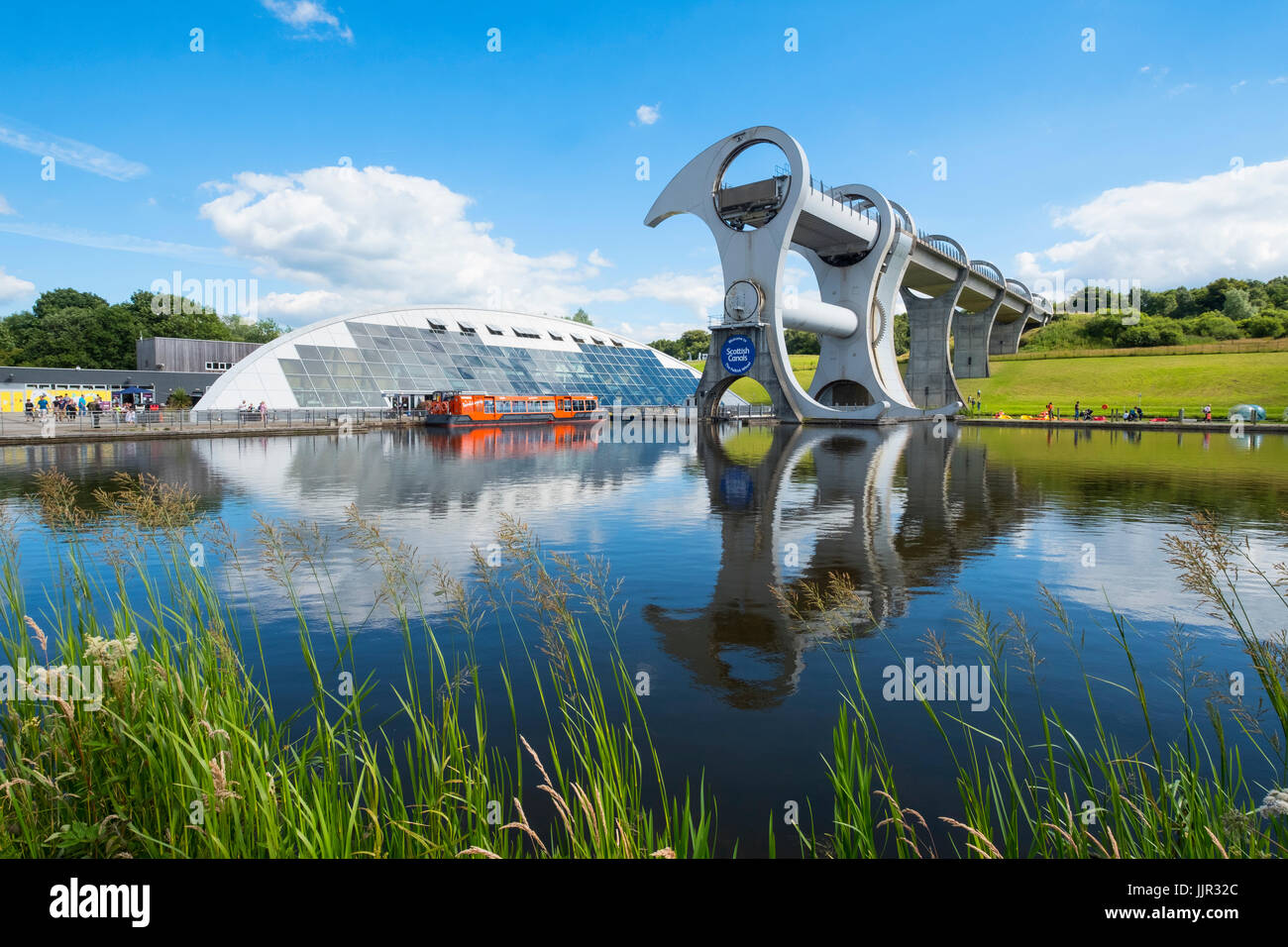 View of Falkirk Wheel ship lift connecting Forth and Clyde Canal with Union Canal in Scotland, United Kingdom - Stock Image