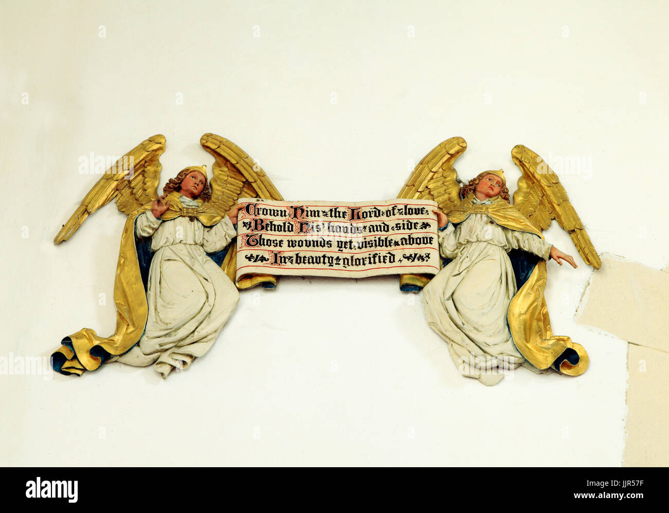 Gilded Angels, 'Crown Him The Lord Of Love', Hillington church, Norfolk, England, UK - Stock Image
