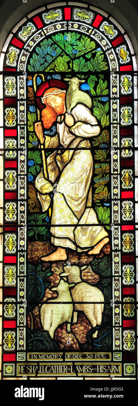 He shall gather the Lambs in his arm, Jesus, with crown of thorns, stained glass by J. Powell & Son, 1878, Houghton - Stock Image