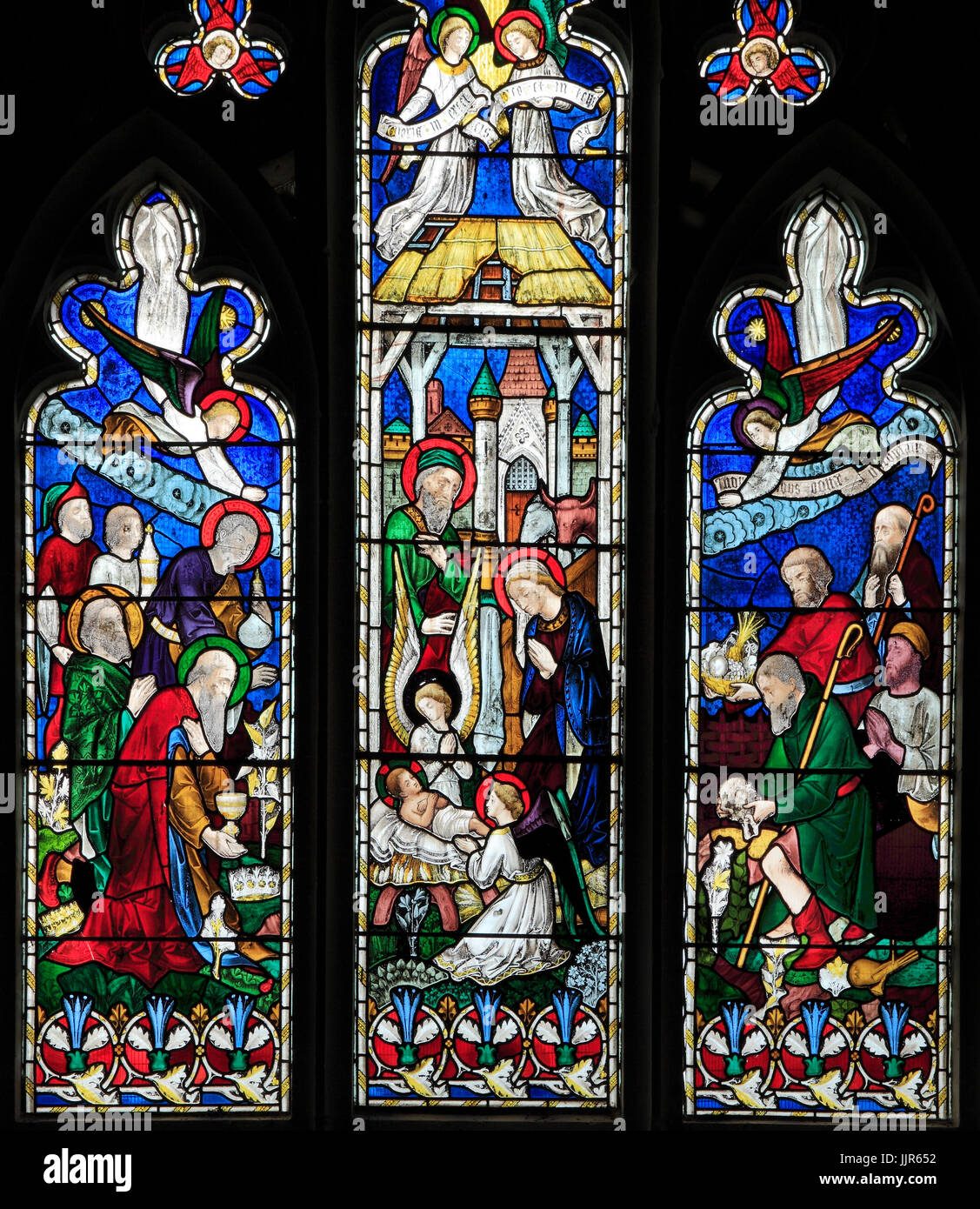Nativity, stained glass window, by J. Hardman & Co, the Magi, Shepherds, infant baby Jesus, stable, Hillington, - Stock Image