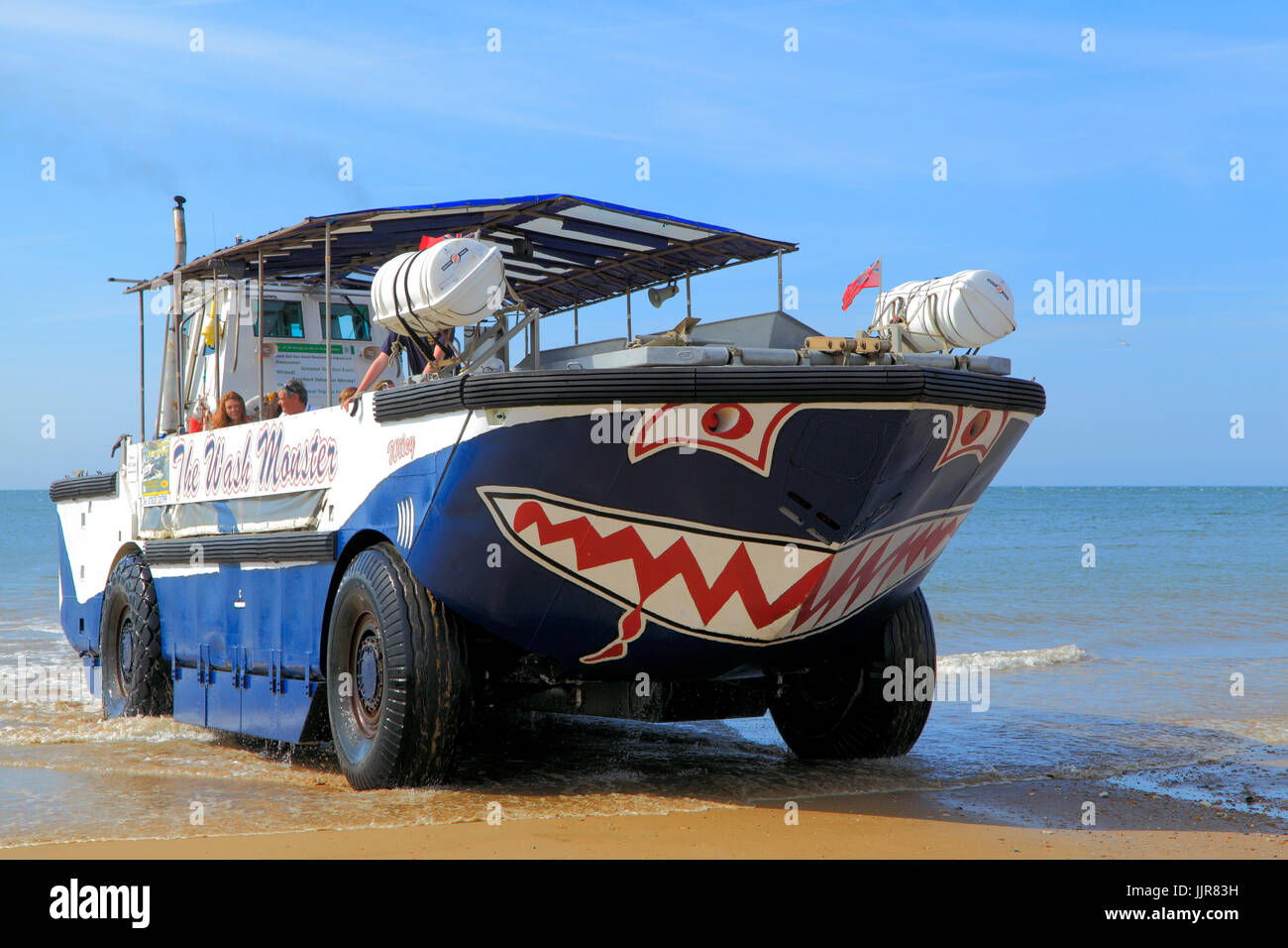 The Wash Monster, pleasure cruises, amphibious vehicle, Hunstanton Beach, Norfolk, England, UK - Stock Image