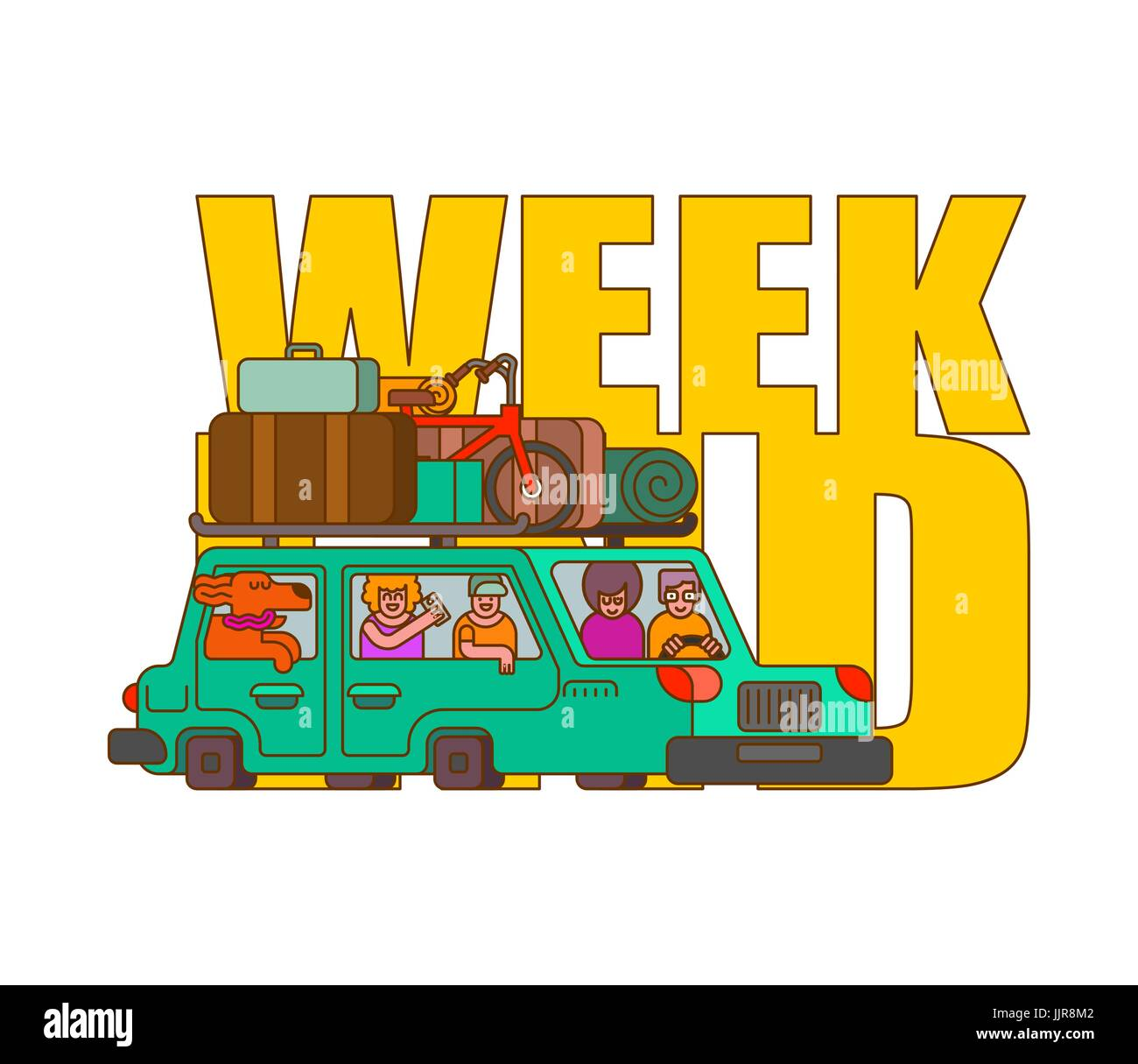 Car for weekend outline style. Family go to camping line style. Things to relax. Bicycles and suitcases. Dog from - Stock Vector