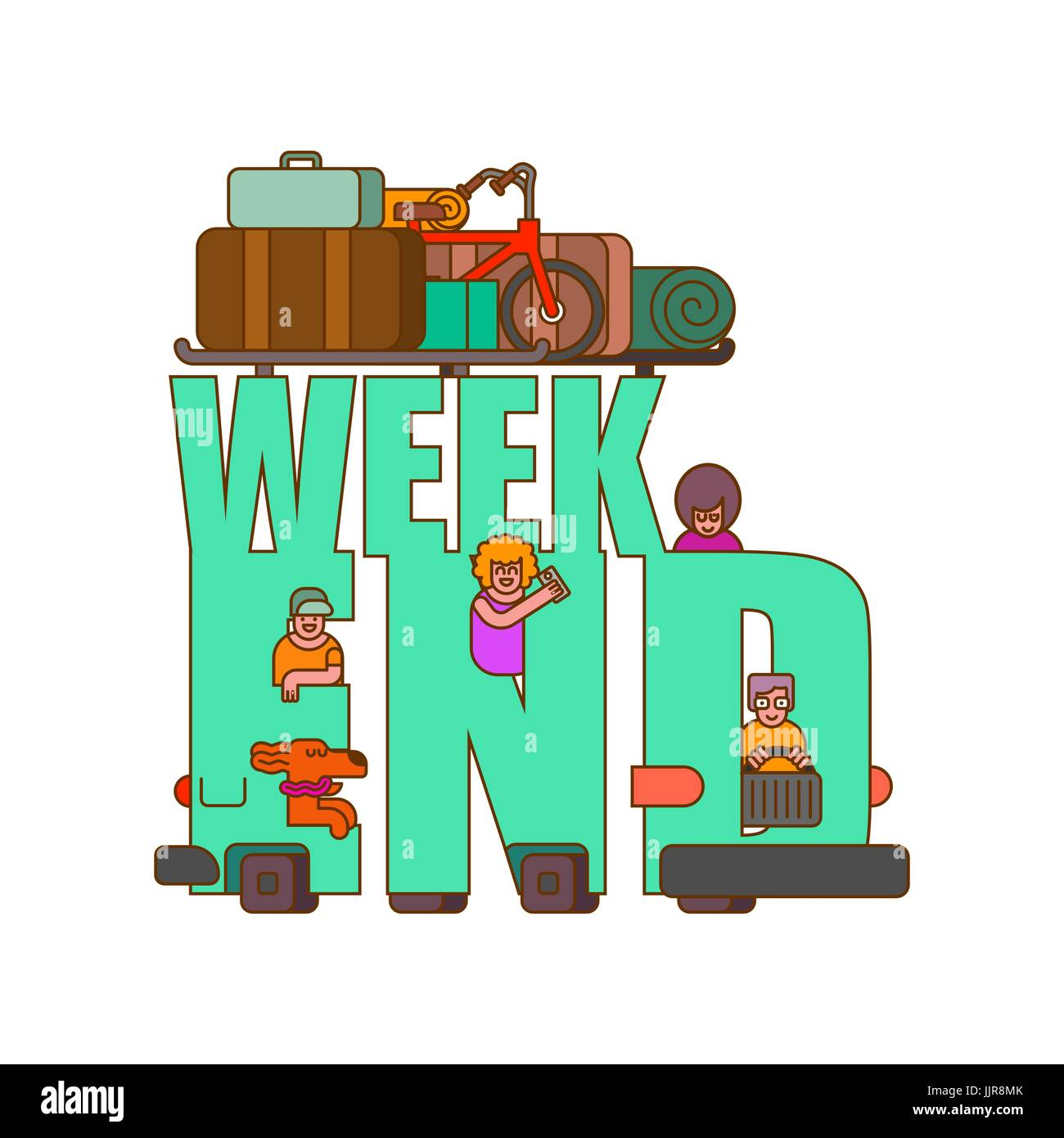 Weekend lettering. Car Family go to camping line style. Things to relax. Bicycles and suitcases. Dog from window. - Stock Vector