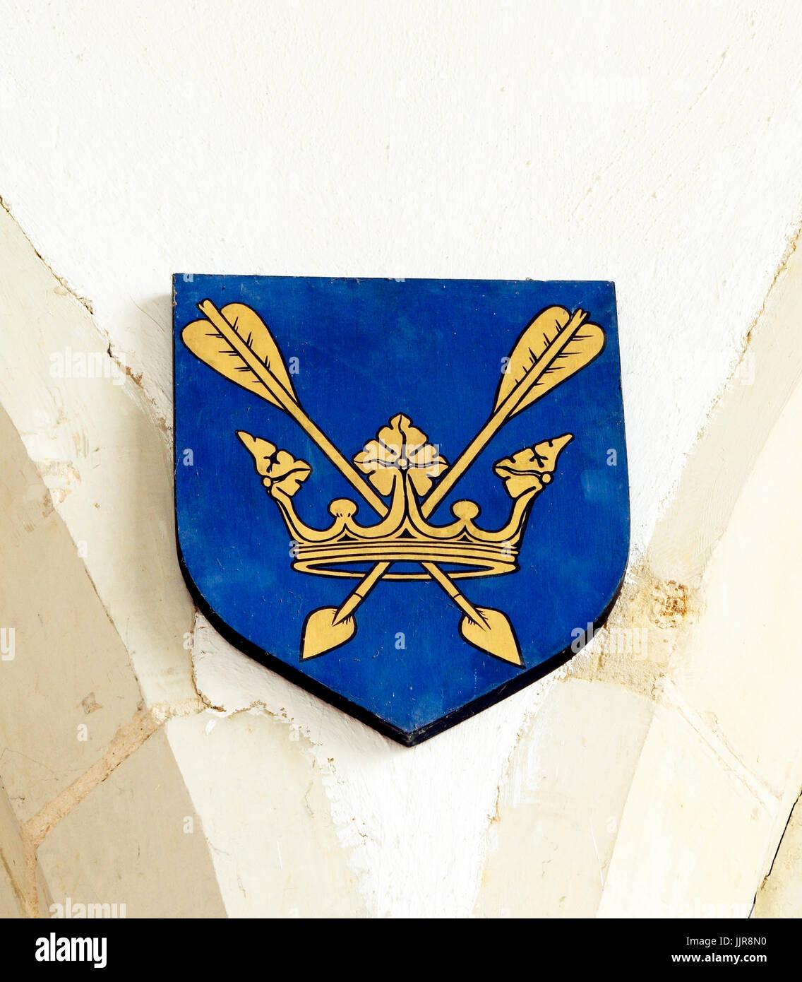 St. Edmund, King Edmund, emblem, Crown and Arrows, shield, Hillington, Norfolk, England, UK - Stock Image