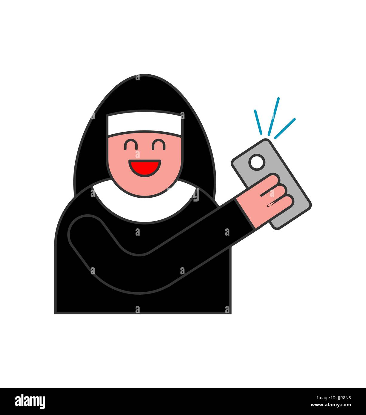 Nun of Selfie. Catholic religious woman photographed on phone - Stock Vector