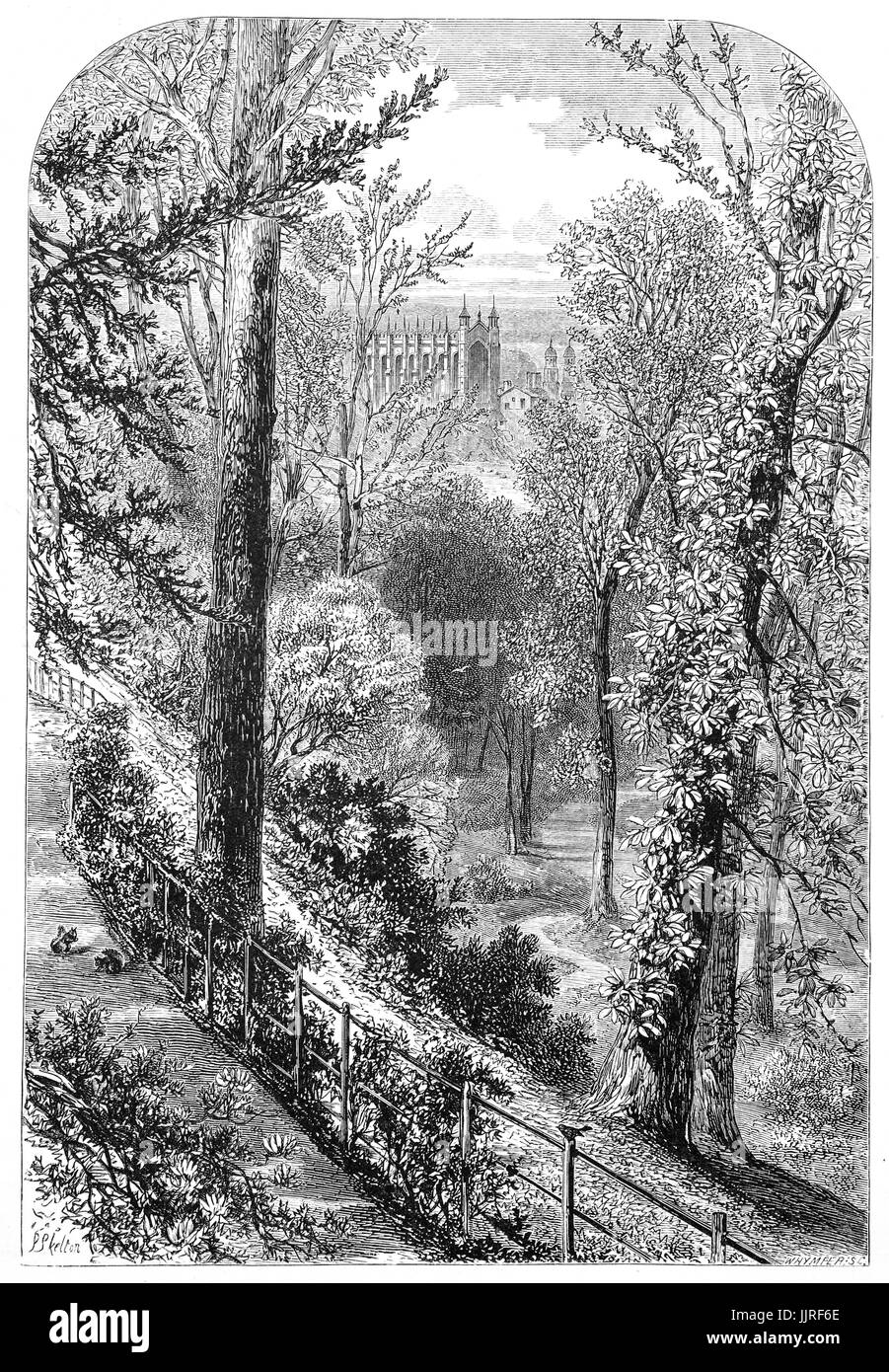 1870: The Slopes: Windsor Castle is placed upon the top of a steep chalk cliff which rises almost abruptly from - Stock Image