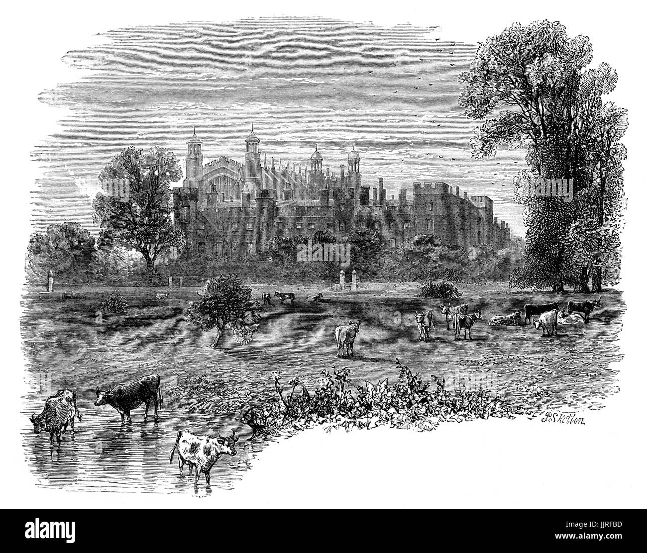 1870: A view from the River Thames of Eton College, an English independent boarding school for boys founded in 1440 - Stock Image