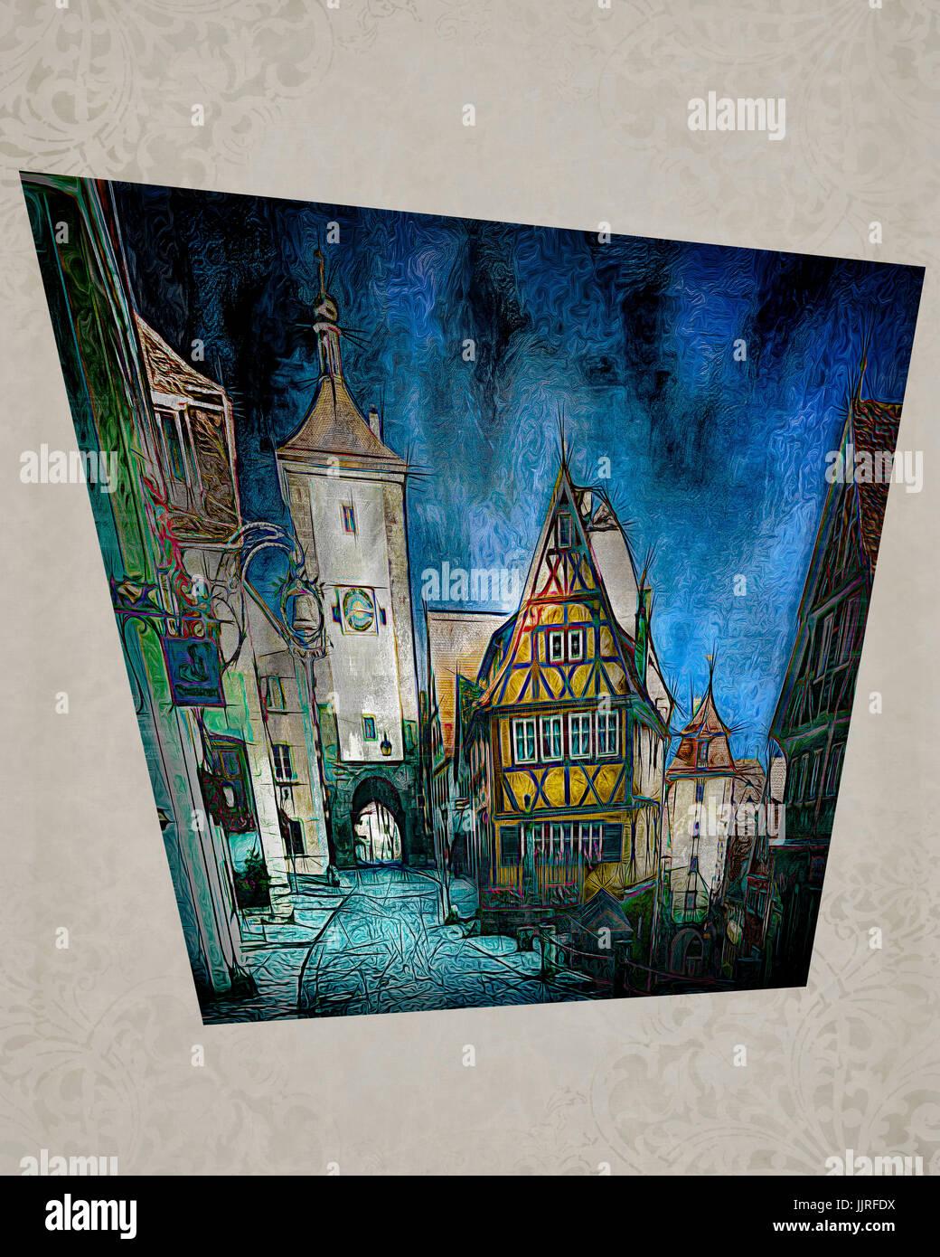 DIGITAL ART: Rothenburg ob der Tauber, Germany - Stock Image