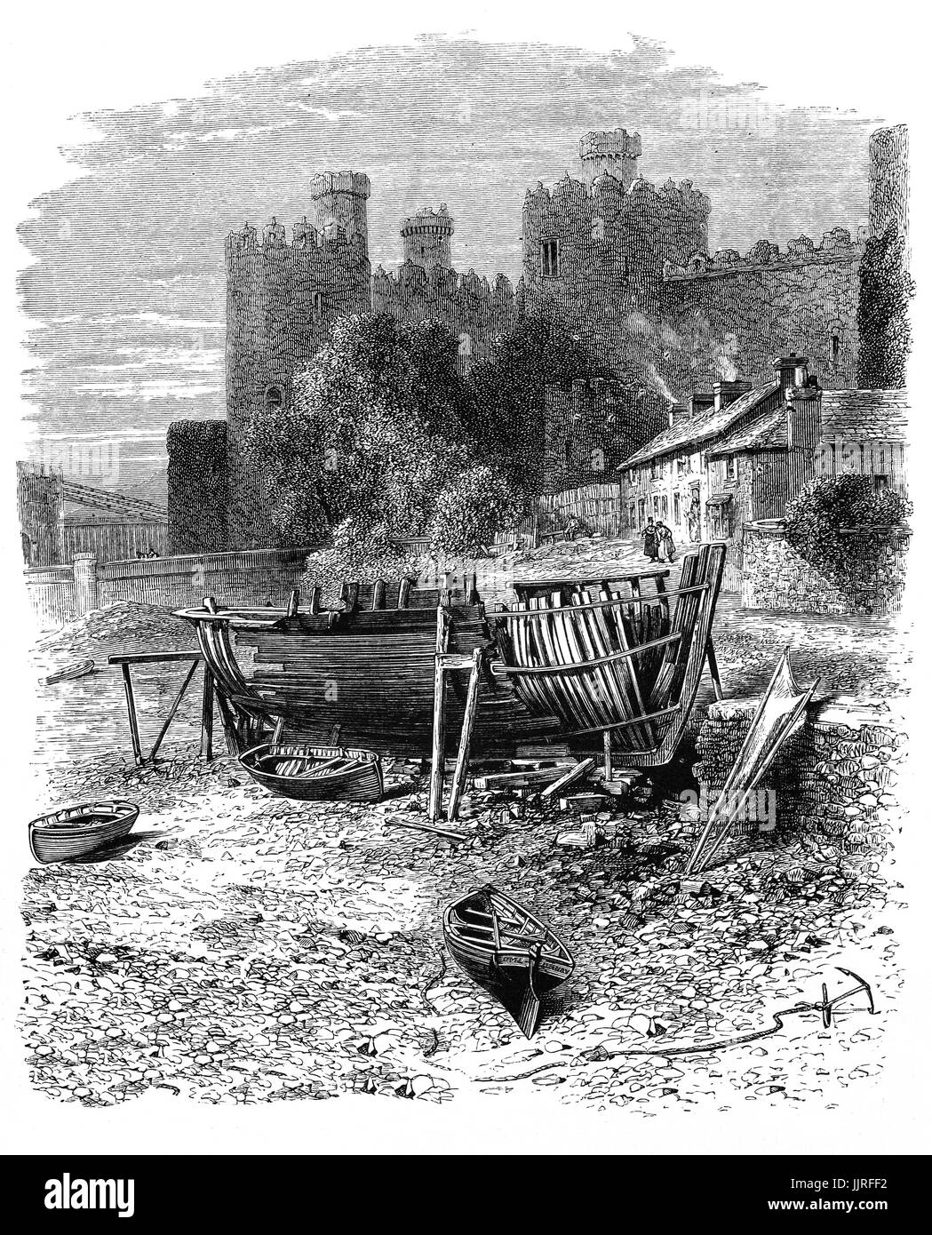 1870: Conway or Conwy Castle  is a medieval fortification in Conwy, on the north coast of Wales. It was built by - Stock Image