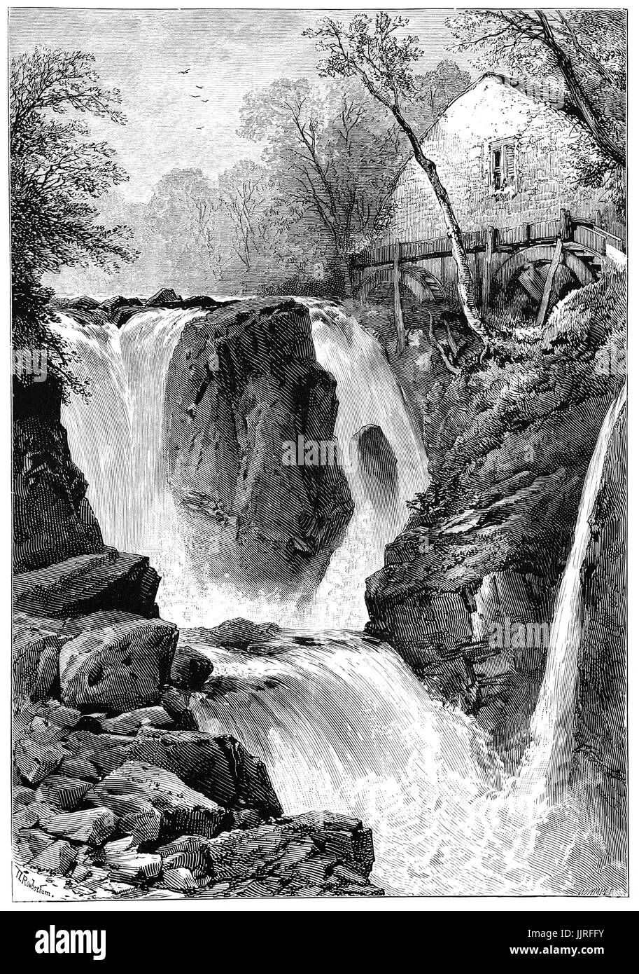 1870: Pandy Mill on the River Llugwy near Betws-y-Coed,  a village in the Conwy valley in Conwy County, Clwyd, North - Stock Image
