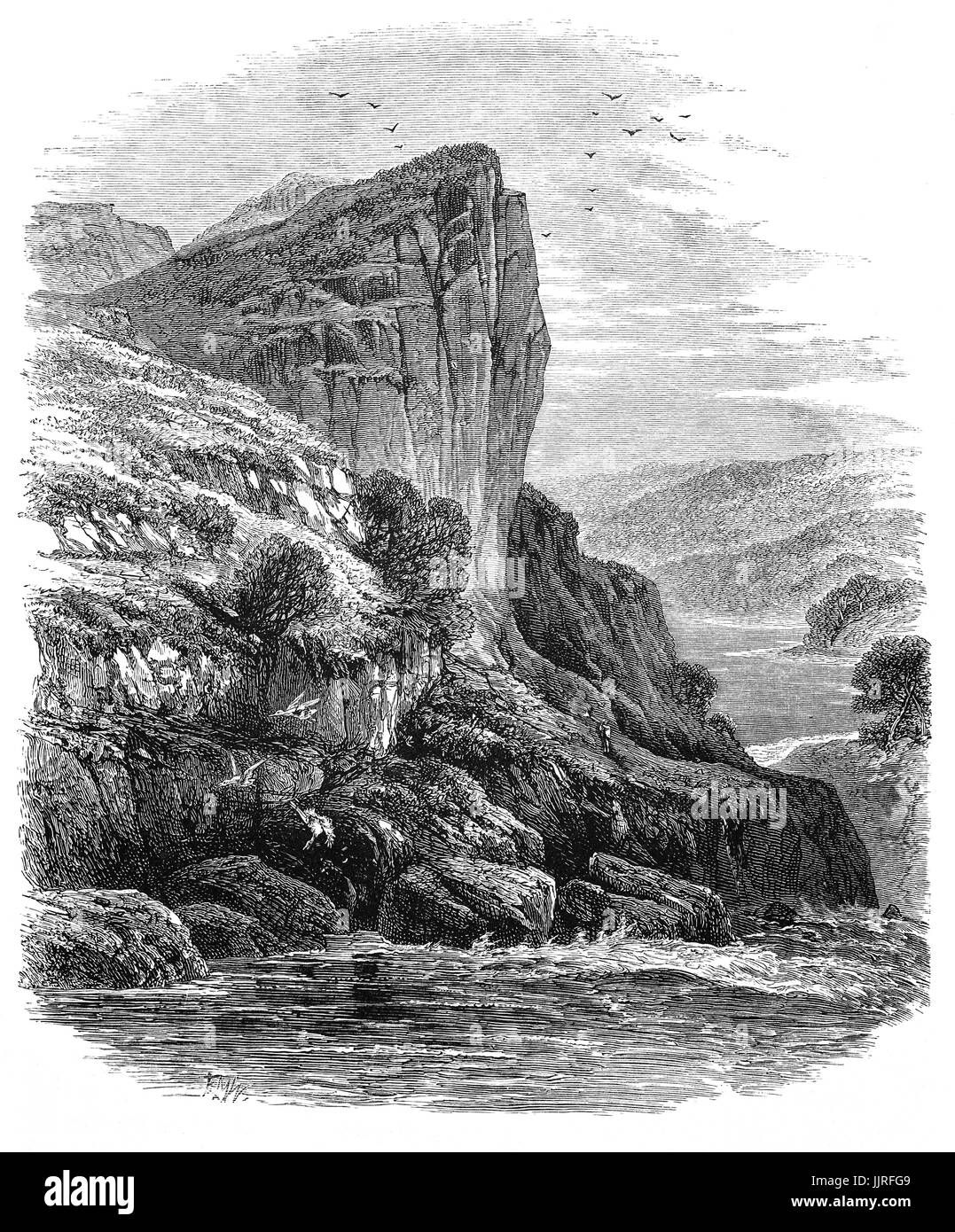 1870: Shepherd's Crag on the River Llugwy,  a tributary of the River Conwy, Conwy County Borough, Clwyd, North - Stock Image
