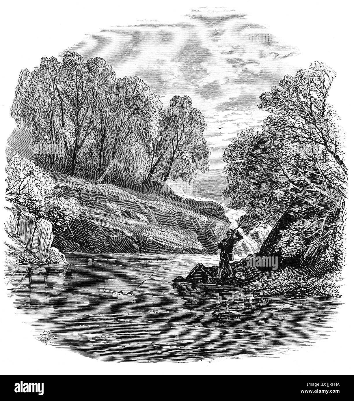 1870: Fly-fishing on the River Llugwy,  a tributary of the River Conwy, Conwy County Borough, Clwyd,  North Wales - Stock Image