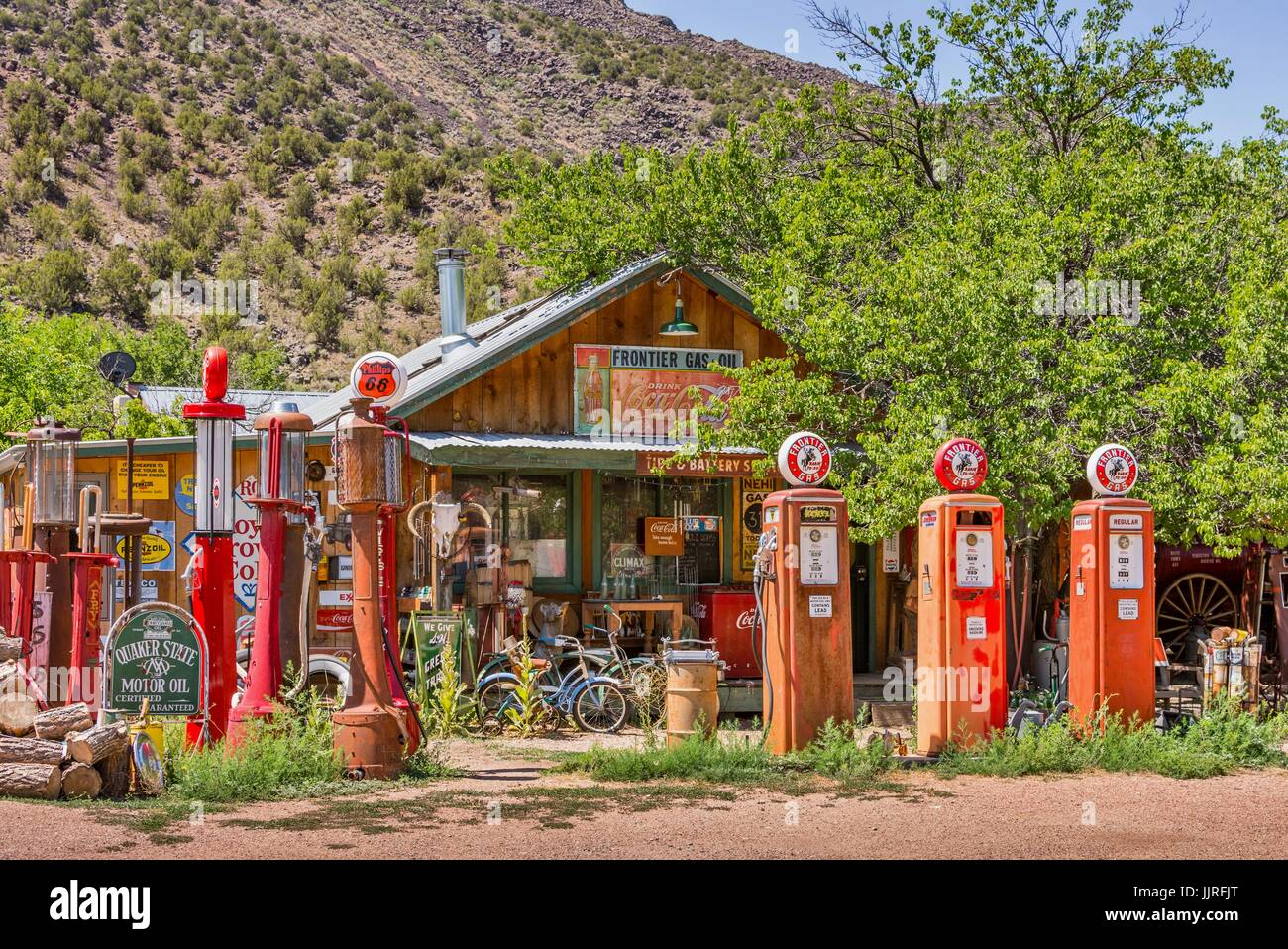 Vintage gas pumps, antique signs and gas station memorabilia at the