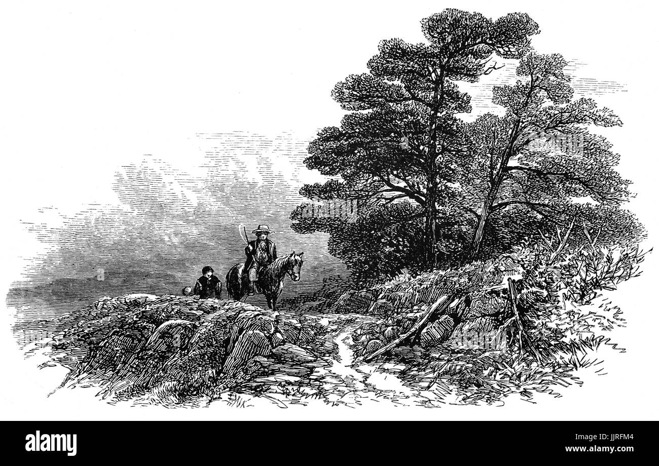 1870: Travellers on a mountain path above Capel Curig, in the Glyderau mountains of Snowdonia, North Wales - Stock Image