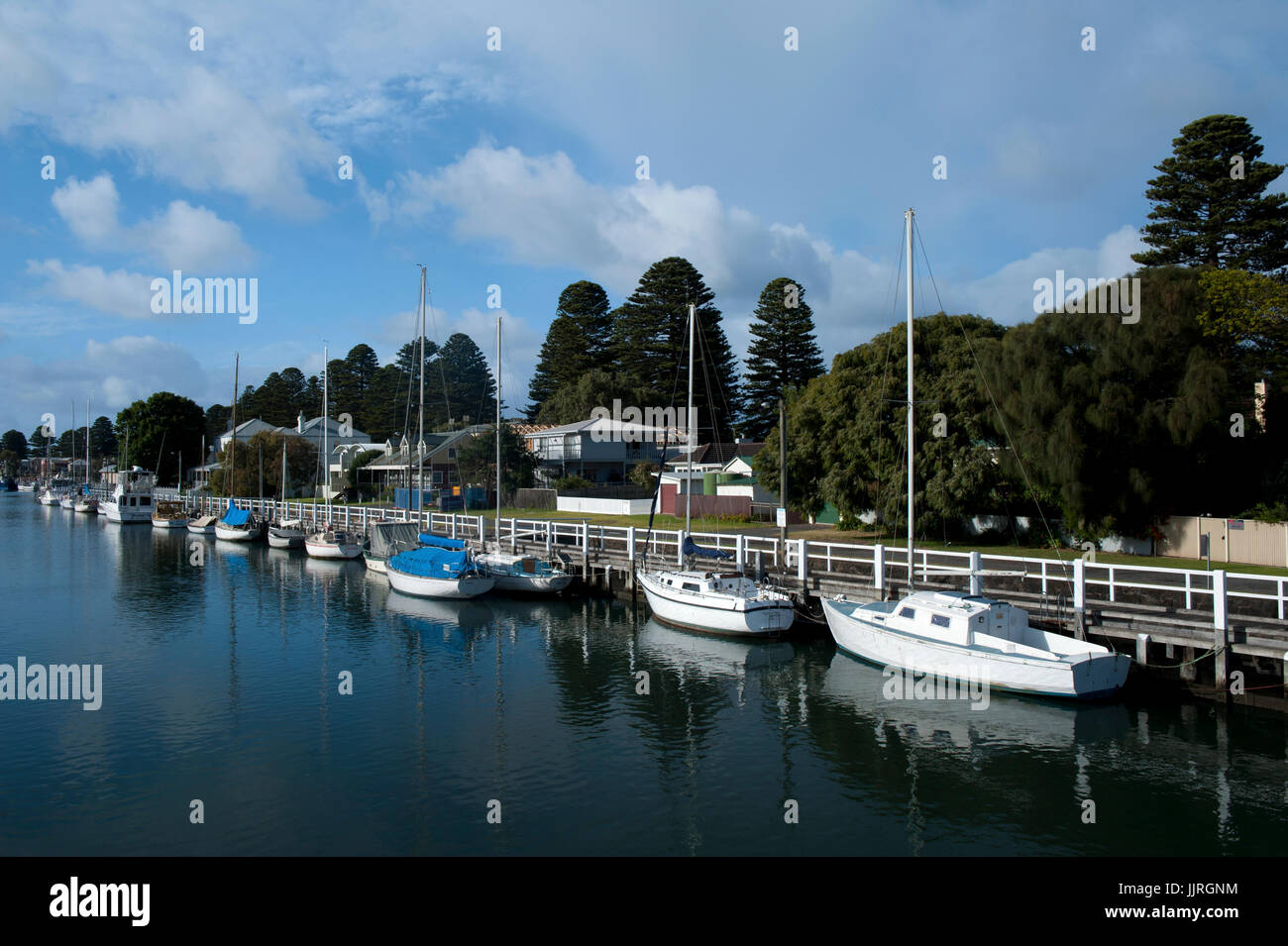 Moored yachts on River Moyne at Port Fairy, Victoria, Australia - Stock Image
