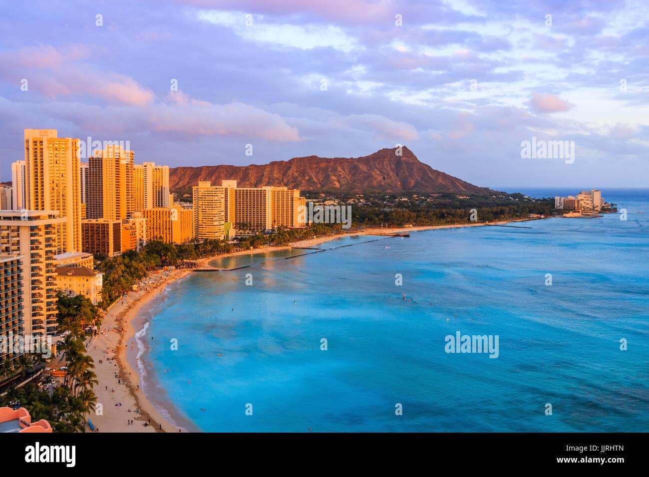 Honolulu Hawaii Skyline Of Diamond Head Volcano Including The Hotels And Buildings On Waikiki Beach