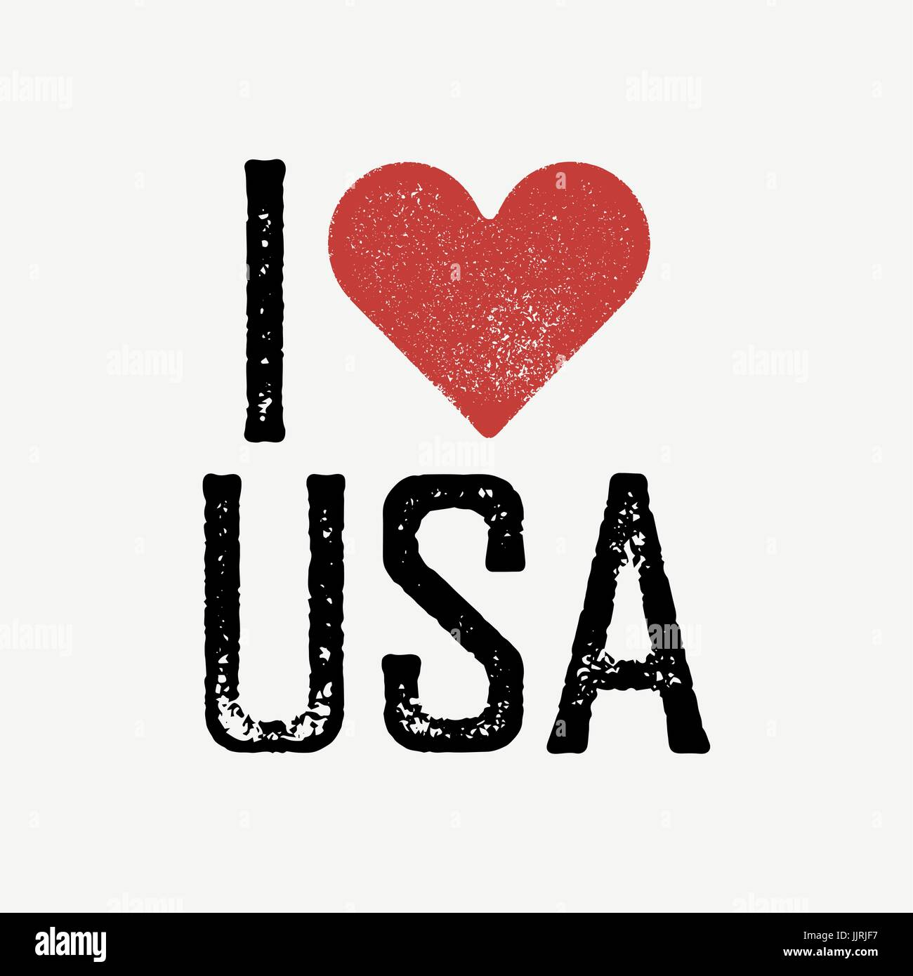 I Love USA Text With Red Heart Tshirt Print Design Template Stock - T shirt graphic design template