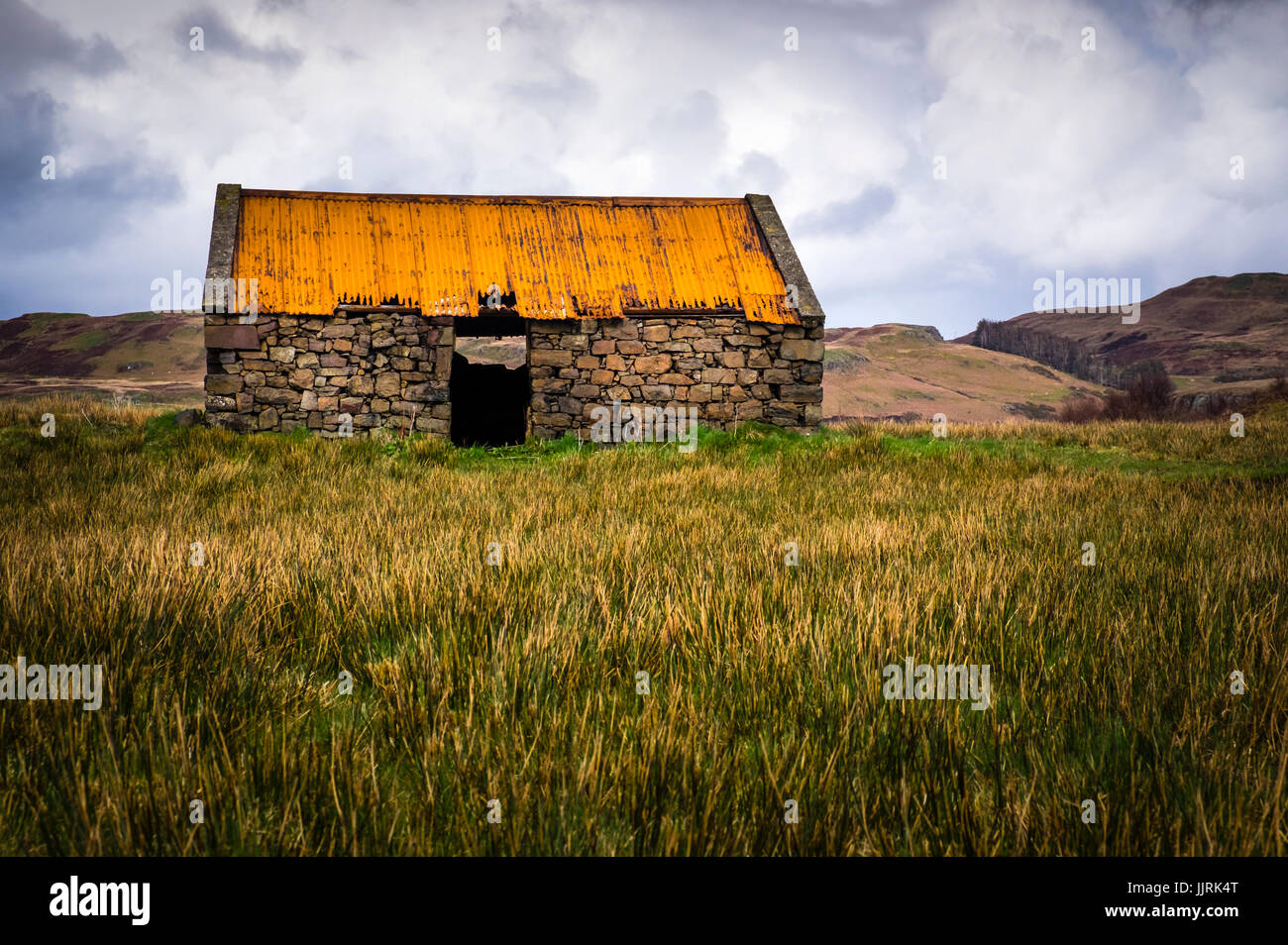SCOTLAND - CIRCA APRIL 2016: Old abandoned croft house in Skye. - Stock Image