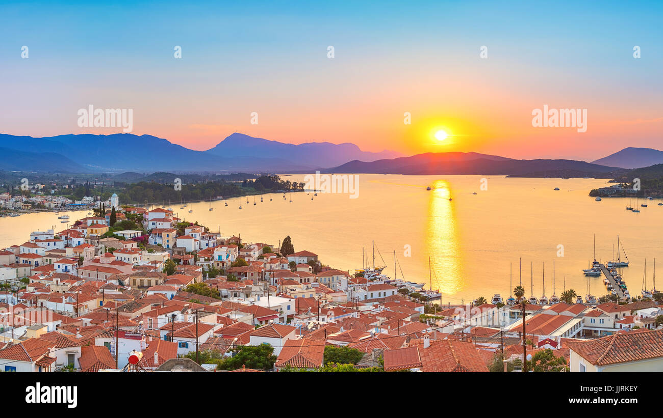 Sunset in Greece, Poros - Stock Image