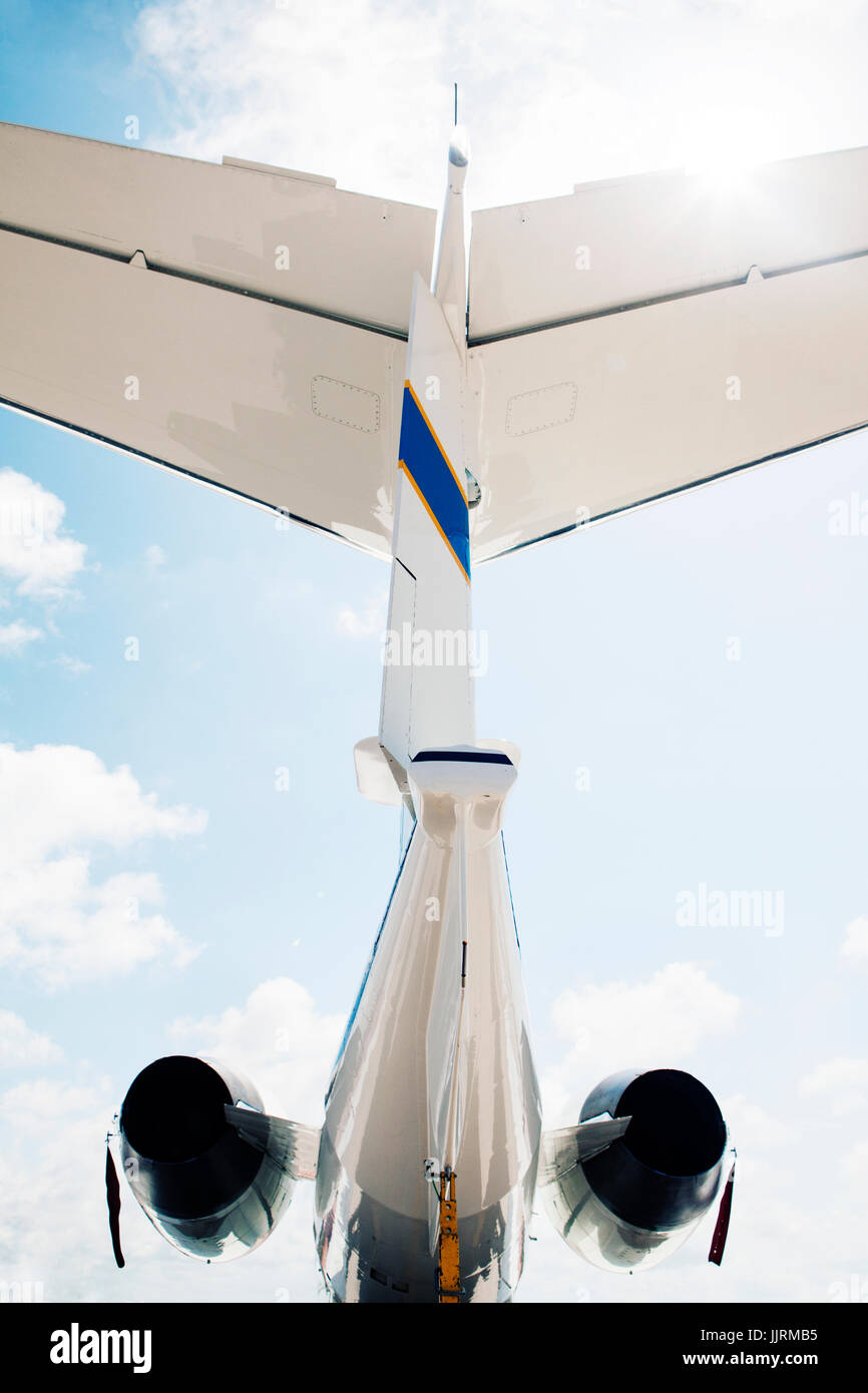 Under the tail of a Learjet C-21. - Stock Image