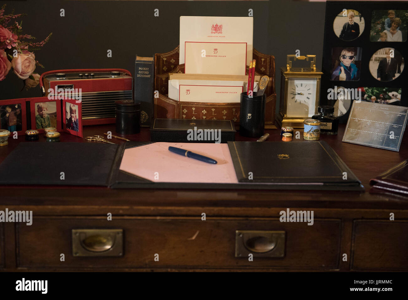Items On The Desk From The Kensington Palace Sitting Room Of Diana,  Princess Of Wales On Show During A Preview For The Royal Gifts Exhibition,  Which Is Part ...