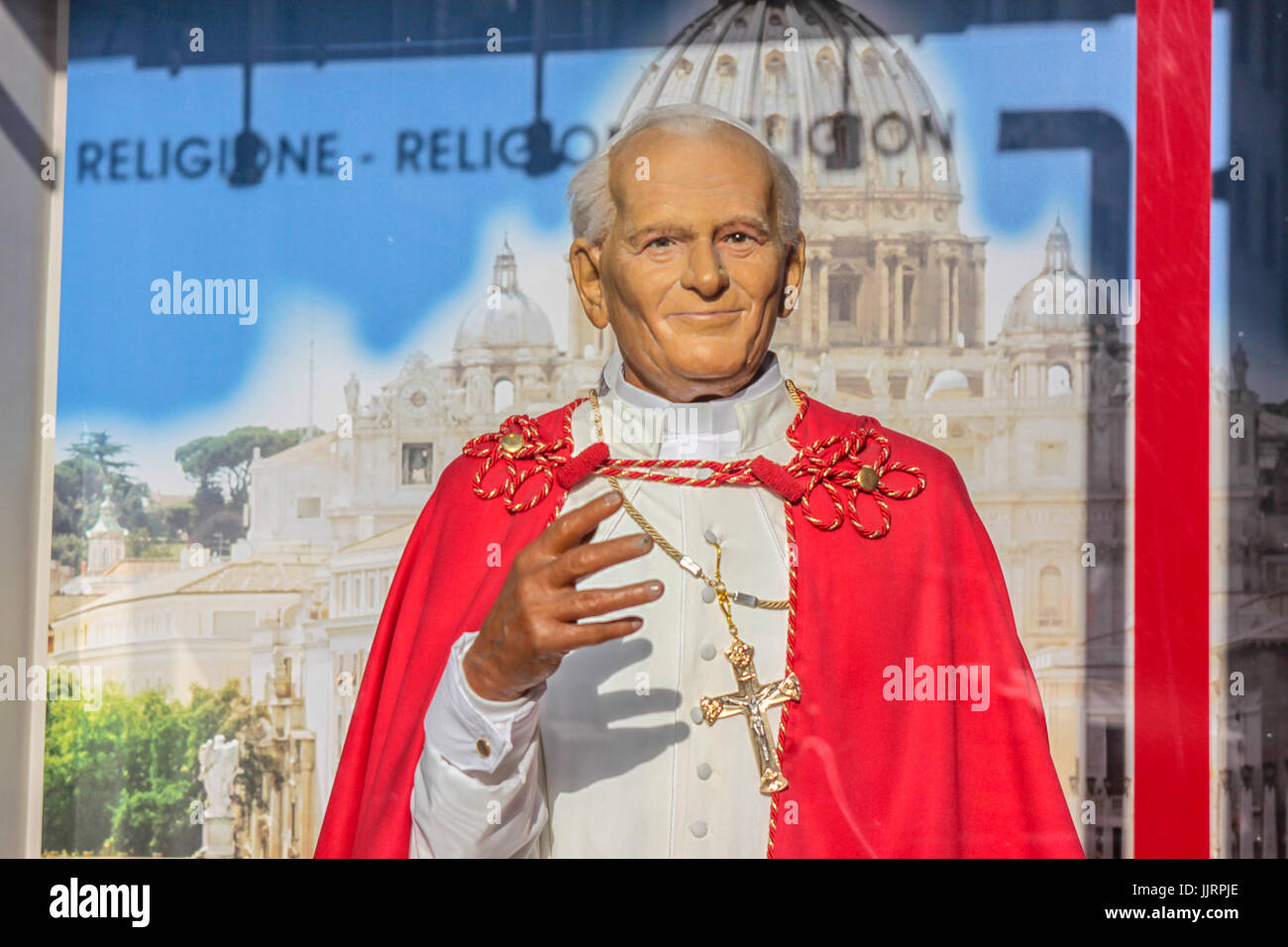 Pope John Paul Wax Works Museum in Rome - Stock Image