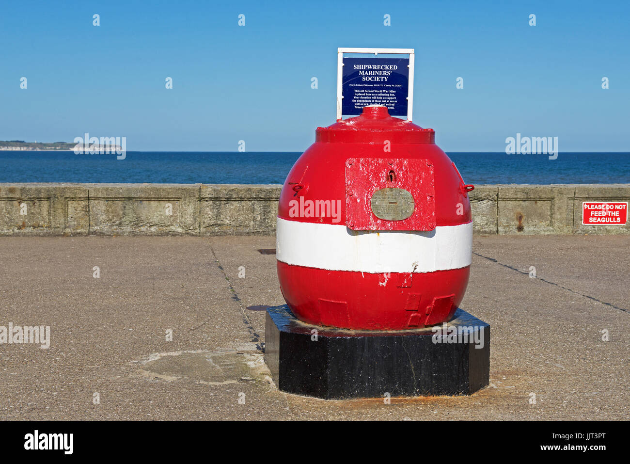 Mine used as collecting box for the Shipwrecked Mariners' Society, Bridlington, East Yorkshire, UK - Stock Image
