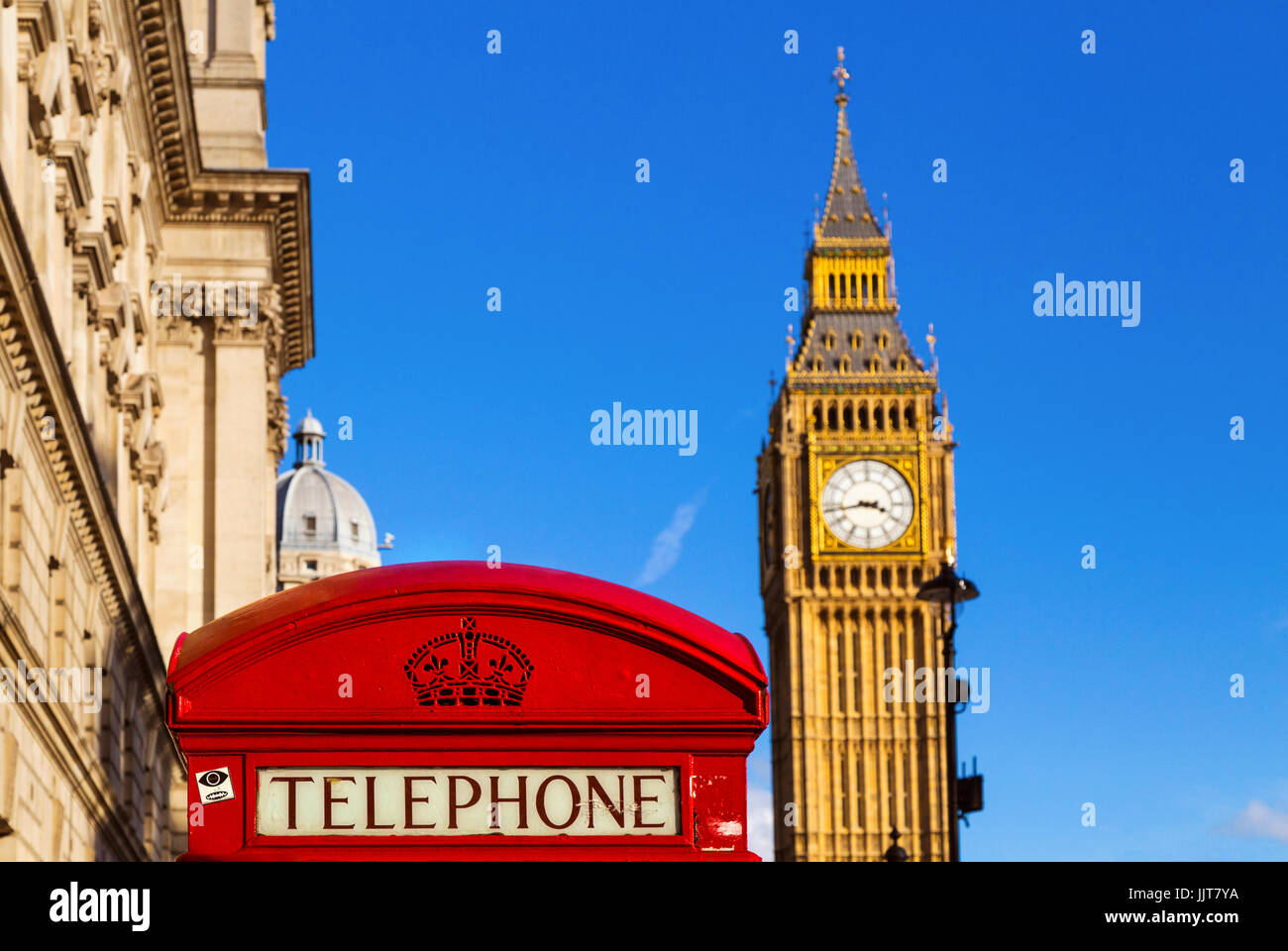 .London red telephone box and Big Ben - Stock Image