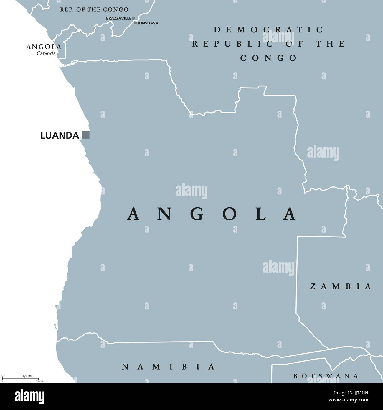 Angola political map with capital Luanda and exclave Cabinda. Republic and country in Southern Africa on the Atlantic - Stock Image