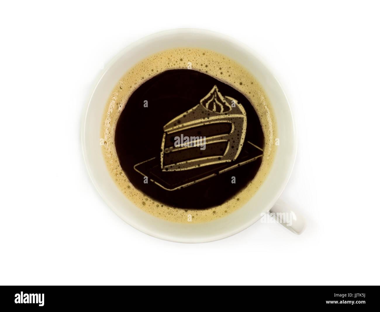 Torte im Kaffeeschaum - Stock Image